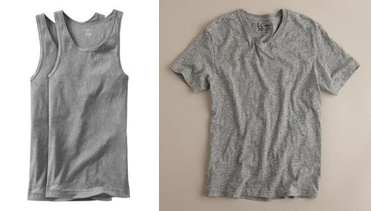White dress shirt grey undershirt