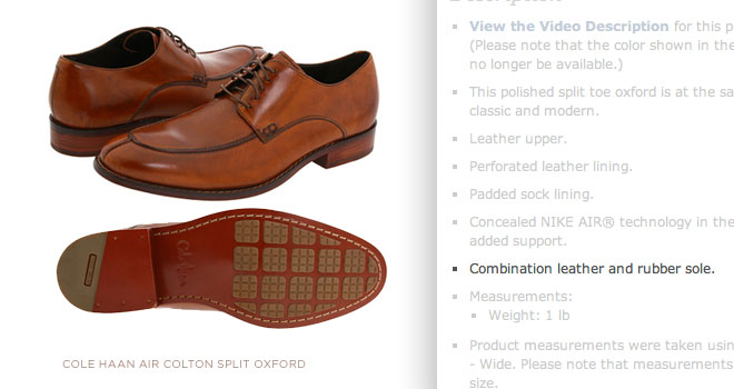 An example of a combo sole is pictured above from cole haan aff link